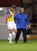 Photo: Paul Greenwood.<br />Chester City v Hereford United. Coca Cola League 2. 12/10/2007.<br />Hereford's Dean Beckwith leaves the field with a facial injury