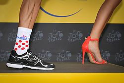 July 20, 2018 - Valence, FRANCE - Illustration shows the shoes of French Julian Alaphilippe of Quick-Step Floors in the red polka-dot jersey for best climber and the high heels of a podium miss after the 13th stage in the 105th edition of the Tour de France cycling race, from Bourg d'Oisans to Valence (169,5 km), France, Friday 20 July 2018. This year's Tour de France takes place from July 7th to July 29th. BELGA PHOTO DAVID STOCKMAN (Credit Image: © David Stockman/Belga via ZUMA Press)