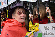 Campaigners inside and outside talk through the locked front gates of Carnegie Library in Herne Hill, south London while occupiers remain inside the premises on day 7 of its occupation, 6th April 2016. The angry local community in the south London borough have occupied their important resource for learning and social hub for the weekend. After a long campaign by locals, Lambeth have gone ahead and closed the library's doors for the last time because they say, cuts to their budget mean millions must be saved.