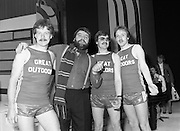 "Brendan Grace with Joggers at The Gaiety Theatre.1982.24.05.1982.05.24.1982.24th May 1982 .Brendan Grace in ""Bottler"" mode takes time out from rehearsals at the Gaiety Theatre. As one of the celebrities taking part in this years CRC ""Jogathon"", he is meeting with some runners from the ""Great Outdoors""who will also take part..From left: Derek O'Connor, ""Bottler"",Tom Hogarty and Jimmy Hayden"