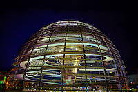 Reichstagskuppel (glass dome on top of the Bundestag Building) at night, Berlin, Germany