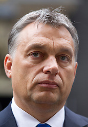 © Licensed to London News Pictures. 09/10/2013. London, UK. The Hungarian Prime Minister, Viktor Orban, talks to media on Downing Street after meeting with the British Prime Minister David Cameron in London today (09/10/2013). Photo credit: Matt Cetti-Roberts/LNP