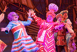"""© Licensed to London News Pictures. 08/12/2011. London, England. L-R: Barry Humphries as Dame Edna Everage - Saviour of London and Eric Potts as Sarah the Cook. Dick Whittington panto starring Dame Edna Everage (Barry Humphries) as the """"Saviour of London"""" opens at the New Wimbledon Theatre, London. The show, written and directed by Eric Potts is scheduled to run to 15 January 2012. Photo credit: Bettina Strenske/LNP"""