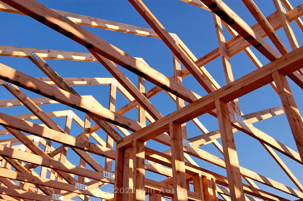 Wood stick framing of a house
