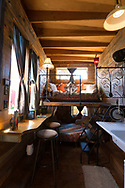 The interior of the Skyline Tiny House at the Caravan, the Tiny House Hotel, Portland, OR, USA