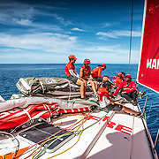 Leg 6 to Auckland, day 21 on board MAPFRE, Almost all crew on deck at the bow ready for any manoeuvre. 27 February, 2018.