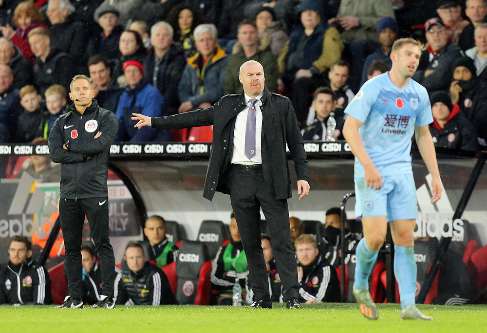 Burnley manager Sean Dyche shouts instructions to his team from the dug-out <br /> <br /> Photographer Rich Linley/CameraSport<br /> <br /> The Premier League - Sheffield United v Burnley - Saturday 2nd November 2019 - Bramall Lane - Sheffield<br /> <br /> World Copyright © 2019 CameraSport. All rights reserved. 43 Linden Ave. Countesthorpe. Leicester. England. LE8 5PG - Tel: +44 (0) 116 277 4147 - admin@camerasport.com - www.camerasport.com