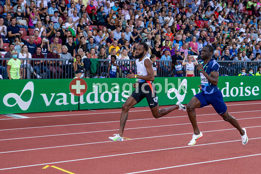 (L-R) Third placed Deon Lendore of Trinidad and Tobago and second placed Kirani James of Grenada compete in the men's 400m during the Iaaf Diamond League meeting (Weltklasse Zuerich) at the Letzigrund Stadium in Zurich, Switzerland, Thursday, Sept. 9, 2021. (Photo by Patrick B. Kraemer / MAGICPBK)
