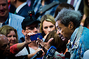 American boxing promoter Don King speaks to the media on day two of the Republican National Convention at Quicken Loans Arena in Cleveland, Ohio on July 19, 2018. Donald Trump will formally accept the Republican Party's nomination for President on Thursday night July 21st.