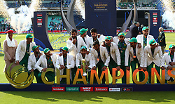June 18, 2017 - London, United Kingdom - Sarfaraz Ahmed of Pakistan with Trophy.during the ICC Champions Trophy Final match between India and Pakistan at The Oval in London on June 18, 2017  (Credit Image: © Kieran Galvin/NurPhoto via ZUMA Press)