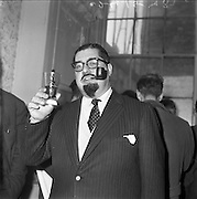 """24/01/1962<br /> 01/24/1962<br /> 24 January 1962<br /> Dr Paul Singer celebrates his acquittal following the longest trial in State history up to that time, the trial lasted 47 days until Mr Justice Walsh directed the jury to return a """"not guilty"""" verdict on eight counts of fraud arising from the operations of Shanahan's Stamp Auctions Ltd, Dun Laoghaire. It was Singer's 262nd day in court since proceedings were started against him four years earlier."""