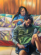 """""""A Woman's Touch"""", 2021, 60"""" x 48"""" x 1""""<br /> <br /> As an African American man from Memphis, TN, I have a genuine interest in everyday people in my community and highlighting their ways of life through my work. I use my art to promote a positive narrative of my community to combat the negative stereotypes oftentimes portrayed through various forms of media. The visual qualities of my artwork can be described as narrative paintings that depict African American figures interacting within a diverse range of environments. This thoughtful representation is important for me because contemporary art needs to see black representation to bring forth cultural awareness. <br /> One of my main inspirations comes from classical paintings and how they used this form of art to document people of stature. Unfortunately, paintings of that time do not highlight individuals of color, and diverse backgrounds, so the goal of my work is to draw inspiration from the classical era and diversify it. The juxtaposition of historical and new references is why my work fits within the current space of contemporary art. <br /> For example, in the painting """"After a Long Day"""", I highlighted a black man sitting on a red leather couch with a beer nearby seemingly reflecting on life. While this depiction may seem obvious, there is much more to consider than that. The important elements of this painting are his slouched posture and weathered skin and hands, which ultimately represents the psychology of the subject. Leisure time in the African American community can oftentimes feel like a luxury rather than a necessity, due to the many years that black and brown communities have been expected to perform physical labor. This painting affords the viewer the opportunity to experience the subject's moment of reflection and embrace the subject's moment of stillness. <br /> In conclusion, art making serves as more than just a means of making something beautiful. (continued on entry 2)"""