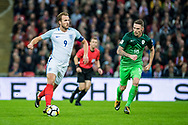 England (9) Harry Kane during the FIFA World Cup Qualifier match between England and Slovenia at Wembley Stadium, London, England on 5 October 2017. Photo by Sebastian Frej.