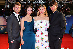 Glen Powell (left to right), Jessica Brown Findlay, Lily James, Michiel Huisman attending The Guernsey Literary and Potato Peel Pie Society world premiere held at Curzon Mayfair, London.