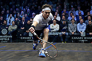Cameron Piley of Australia (in the white shirt) in action vs Mohaired Reda of Egypt (in the black shirt). Canary Wharf Squash Classic 2016 , day two at the East Wintergarden in Canary Wharf , London on Tuesday 8th March 2016.<br /> pic by John Patrick Fletcher, Andrew Orchard sports photography.