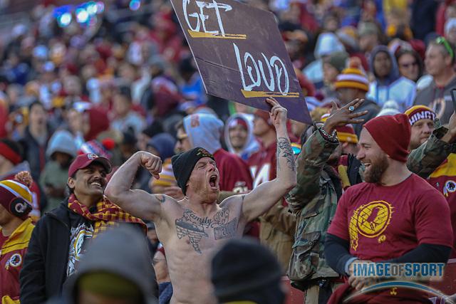 Dec 22, 2019; Landover, MD, USA; Washington Redskins fan gets loud during an NFL game at FedEx Field. The Giants beat the Redskins 41-35. (Brian Villanueva/Image of Sport)