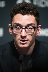 © Licensed to London News Pictures. 08/11/2018. London, UK. US ChallengerFabiano Caruana attends a press conference ahead of his 12 match game against reigning Chess ChampionMagnus Carlsen to determine the FIDE World Chess Champion<br /> Photo credit: Ray Tang/LNP