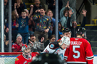 KELOWNA, BC - FEBRUARY 7: Fans react to a goal scored by Ethan Ernst #19 of the Kelowna Rockets on Joel Hofer #30 of the Portland Winterhawks at Prospera Place on February 7, 2020 in Kelowna, Canada. (Photo by Marissa Baecker/Shoot the Breeze)