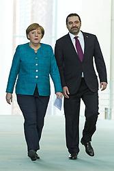 April 4, 2017 - Berlin, Germany - Bundeskanzlerin Angela Merkel begruesst am 4. April 2017 den Premierminister der libanesischen Republik, Saad Hariri, im Bundeskanzleramt. Vor dem Gespraech geben beide ein Pressestatement. Hariri führt aus, die Aufnahme der syrischen Fluechtlinge belaste die Wirtschaft und das soziale Gefuege seines Landes. Die Ausmasse seien in etwa so, als wuerde man von der Europaeischen Union erwarten, ab morgen 250 Millionen Fluechtlinge aufzunehmen.   On April 4, 2017, German Chancellor Angela Merkel welcomes the Prime Minister of the Lebanese Republic, Saad Hariri, to the Federal Chancellery. Before the conversation, both give a press conference. Prime Minister Hariri says that the admission of the Syrian refugees burdened the economy and the social fabric of his country. The proportions were roughly the same as expected from the European Union to absorb 250 million refugees as of tomorrow..Credit: A.v.Stocki/face to face (Credit Image: © face to face via ZUMA Press)