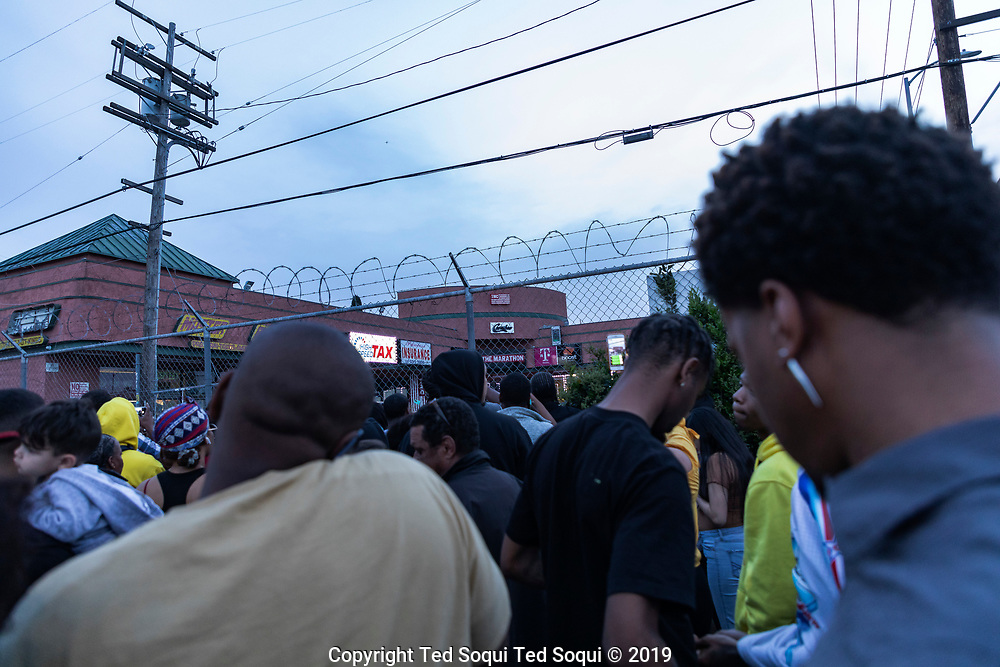 Los Angeles Grammy-nominated rap artist Nipsey Hustle was shot and killed outside his South los Angeles clothing store, Marathon Clothing. Hundreds of local area residents turned up to the store's location in tribute.<br /> 3/31/2019 South Los Angeles, CA. USA<br /> (Photo by Ted Soqui)