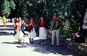 Folk group accordion music performing outside Yalta, Crimes, Russia in 1997