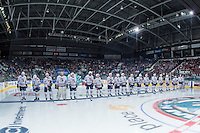 KELOWNA, CANADA - SEPTEMBER 24: The Kamloops Blazers line up on the blue line during the Kelowna Rockets' home opener on September 24, 2016 at Prospera Place in Kelowna, British Columbia, Canada.  (Photo by Marissa Baecker/Shoot the Breeze)  *** Local Caption ***