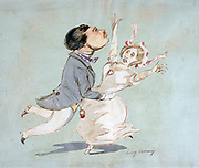 The Couple'. Watercolour by Henri Monnier (1805-1877) French cartoonist. Man Woman
