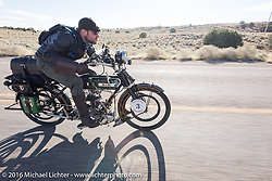 Buck Carson of Texas riding his 1916 BSA out of Page, Arizona on the Motorcycle Cannonball Race of the Century. Stage-12 ride from Page, AZ to Williams, AZ. USA. Thursday September 22, 2016. Photography ©2016 Michael Lichter.