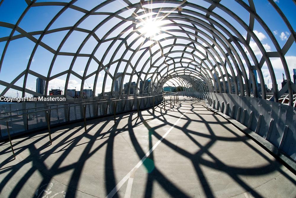 Modern architecture of steel Webb footbridge in Docklands district of Melbourne Australia