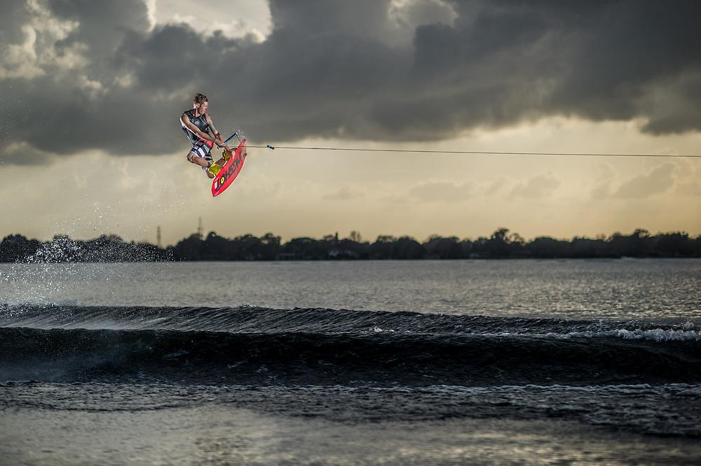 Jeff McKee shot for Transworld Wakeboarding Magazine on Clear Lake in Orlando, Florida.