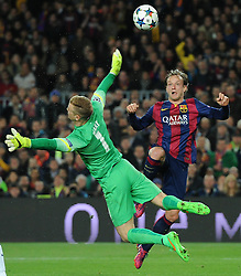 Barcelona's Ivan Rakitic lifts the ball over  Manchester City's Joe Hart to score - Photo mandatory by-line: Dougie Allward/JMP - Mobile: 07966 386802 - 18/03/2015 - SPORT - Football - Barcelona - Nou Camp - Barcelona v Manchester City - UEFA Champions League - Round 16 - Second Leg