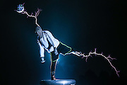 """CHANGLE, CHINA - JUNE 12: (CHINA OUT) <br /> <br /> """"Lightning Football Show""""<br /> <br /> Wang Zengxiang, a teenager in Fujian, plays a """"lightning football show"""" with his teamates by using tesla coil and wearing a special metal cloth at Heshang county on June 12, 2014 in Changle, Fujian province of China. Tesla coil is an electrical resonant transformer circuit, which is used to produce high-voltage, low-current, high frequency alternating-current electricity.<br /> ©Exclusivepix"""