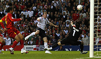 Photo: Paul Thomas.<br /> England v Macedonia. UEFA European Championships 2008 Qualifying. 07/10/2006.<br /> <br /> Wayne Rooney of England (C) can't finish with a goal.