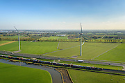 Nederland, Gelderland, Betuwe, 24-10-2013; Betuweroute, ter hoogte van Echteld. De goederenspoorlijn loopt parallel aan autosnelweg A15. De goederentrein is onderweg naar de haven van Rotterdam. Onder in beeld de rivier de Linge.<br /> Betuweroute, railway from Rotterdam to Germany, near Echteld. The freight railway runs parallel to highway A15. The freight is on its way to the port of Rotterdam.<br /> luchtfoto (toeslag op standaard tarieven);<br /> aerial photo (additional fee required);<br /> copyright foto/photo Siebe Swart.