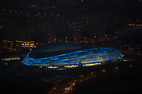 An aerial view of the National Speed Skating Oval, also known as the Ice Ribbon due to its appearance, a speed skating arena which is the only new venue planned to be built on Beijing's Olympic Green for the Winter Olympics, Beijing, China, 25 December 2020.