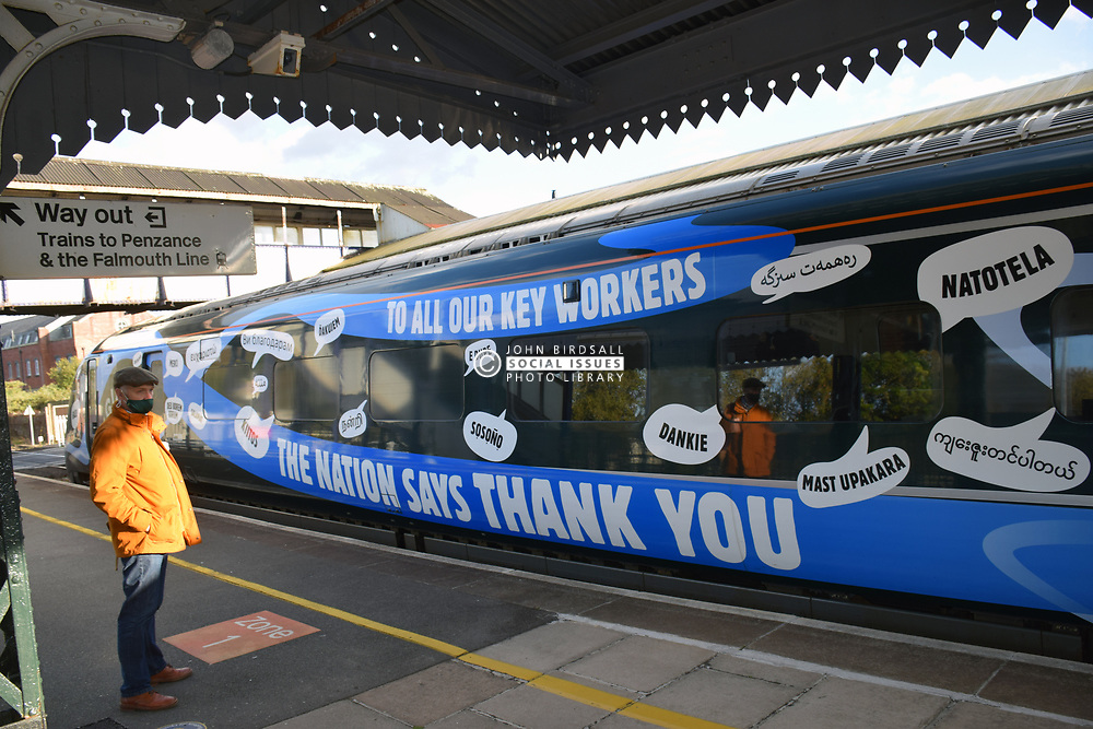 NHS & Key Workers thank you artwork on a Great Western Railways train at Truro station, Cornwall UK Oct 2020 MR