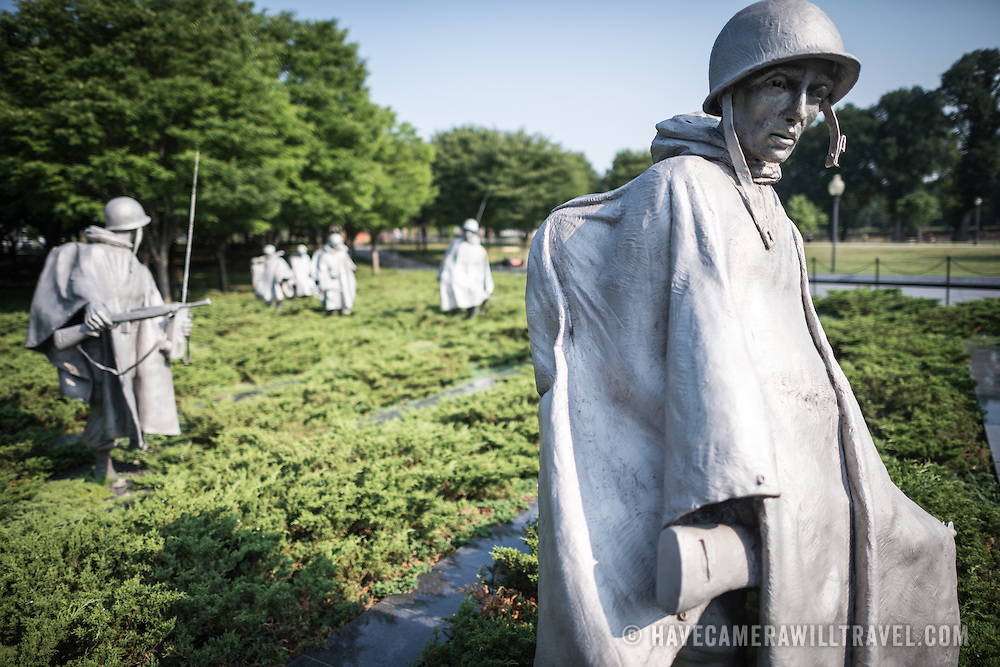 The Column at the Korean War Veterans Memorial. The slightly larger than life statues of American soldiers that make up The Column, designed by Frank Gaylord, that forms the centerpiece of the monument.