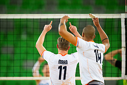 30-12-2019 SLO: Slovenia - Netherlands, Ljubljana<br /> Nimir Abdel-Aziz and Jelte Maan of the Netherlands during friendly volleyball match between National Men teams of Slovenia and Netherlands