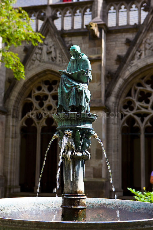 Fountain with writing canon, Dom Kerk garden, Utrecht. By JH Brom