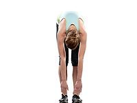 woman sun salutation yoga surya namaskar pose stretching workout posture fitness  by a caucasian woman full length  woman on studio white background