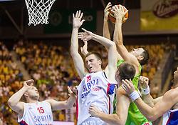 Danilo Andusic of Serbia vs Bostjan Nachbar of Slovenia during friendly match between National teams of Slovenia and Serbia for Eurobasket 2013 on August 3, 2013 in Arena Zlatorog, Celje, Slovenia. (Photo by Vid Ponikvar / Sportida.com)