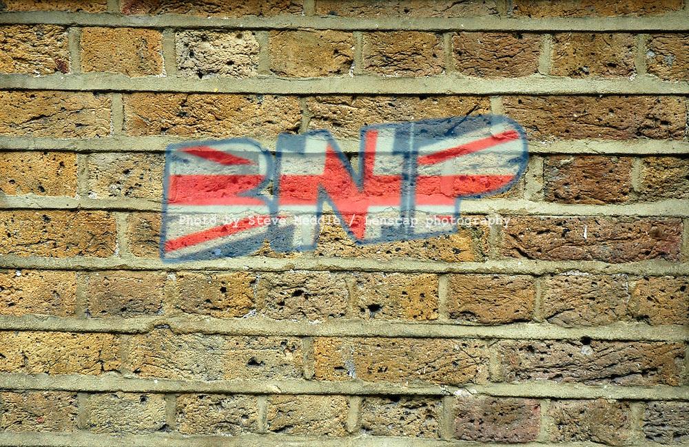 British National Party, BNP Graffiti on a Brick Wall.
