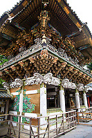 Yomeimon Gate, probably the most famous work of architecture at Toshogu Shrine was erected in 1636 and maintained through repeated repair to keep it in a condition equal to that at the time of original construction, including its decorative sculptures.  It is the most elegantly decorated among the shrine buildings of Toshogu. The great extent of decorative effort peculiar to this particular construction can be seen in the ornamented sculptures on the surface of the gate.