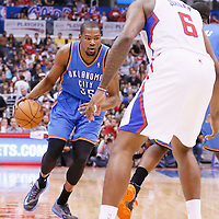 11 May 2014: Oklahoma City Thunder forward Kevin Durant (35) dribbles during the Los Angeles Clippers 101-99 victory over the Oklahoma City Thunder, during Game Four of the Western Conference Semifinals of the NBA Playoffs, at the Staples Center, Los Angeles, California, USA.