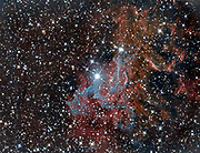 Flaming Star Nebula (IC 405) in the constellation Auriga lying at a distance of approximately 1 500 light years from Earth and abouth 5 light years across. The nebula surrounds the variable star AE Auriga, here seen in the sentre of the photo.