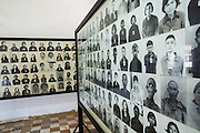 30 JANUARY 2013 - PHNOM PENH, CAMBODIA:  Photos of victims of the Khmer Rouge genocide on display in the Toul Sleng Genocide Museum. The Tuol Sleng Genocide Museum is in Phnom Penh. It is a former high school that was used as the Security Prison 21 (S-21) by the Khmer Rouge from 1975 to 1979. It was used to torture and execute Cambodians and foreigners the Khmer Rouge thought were opposed to the regime.     PHOTO BY JACK KURTZ