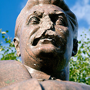 A damaged bust of Joseph Stalin, former leader of the Soviet Union, standing in the Sculpture Park in Moscow, Russia.