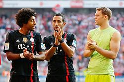 27.09.2014, RheinEnergieStadion, Köln, GER, 1. FBL, 1. FC Köln vs FC Bayern München, 6. Runde, im Bild vl: Dante (FC Bayern Muenchen #4), Mehdi Benatia (FC Bayern Muenchen #5) und Torwart Manuel Neuer (FC Bayern Muenchen #1) // during the German Bundesliga 6th round match between 1. FC Cologne and FC Bayern Munich at the RheinEnergieStadion in Köln, Germany on 2014/09/27. EXPA Pictures © 2014, PhotoCredit: EXPA/ Eibner-Pressefoto/ Schüler<br /> <br /> *****ATTENTION - OUT of GER*****