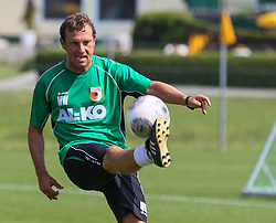 14.07.2013, Walchsee, AUT, FC Augsburg, Trainingslager, im Bild Fussball-Tennis am ersten Trainingstag, am Ball Markus WEINZIERL (Trainer FC Augsburg) // during a trainings session of German 1st Bundesliga club FC Augsburg at their training camp in Walchsee, Austria on 2013/07/14. EXPA Pictures © 2013, PhotoCredit: EXPA/ Eibner/ Klaus Rainer Krieger<br /> <br /> ***** ATTENTION - OUT OF GER *****