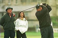 Catherine Zeta-Jones watches husband Michael Douglas tee shot on the 2nd hole at the Old Course, St. Andrews during the actor's round at the annual Dunhill pro-celebrity golf tournament where he partnered Ernie Els.